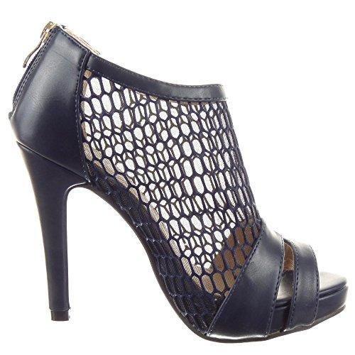 Sopily - Scarpe da Moda scarpe decollete sandali Stiletto Low boots alla caviglia donna fishnet Tacco Stiletto tacco alto 11.5 CM - Blu