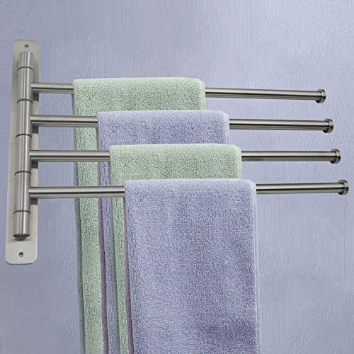 COZYSWAN Swivel Towel Bar with 4 Arms Wall Mounted Towel Rail Stainless Steel Towel Rack Towel Holder Organizer 180° Rotation Brushed Finish for Bathroom Kitchen