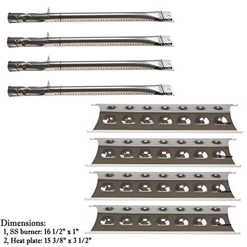 Bar.b.q.s Replacement Perfect Flame 24137, 24138, 2518SL-LPG, 2518SL-NG, 2518SLN-LPG Burner & Heat Plates (4pack SS Burner + 4pack SS Heat Plate)