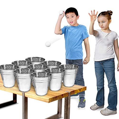 Bucket Ping Pong Ball Game by Gamie - Includes 9 Metal Buckets, 12 Balls, and 1 Number Sticker Sheet - Fun Party Activity for Kids and Adults, Great Gift Idea for Kids -