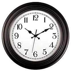 Bekith 14 Inch Large Outdoor Indoor Wall Clock Silent & Non-Ticking Round Quartz Clock, Black/White