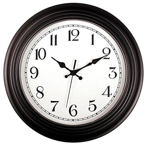 White Outdoor Clock (Bekith 14 Inch Large Outdoor Indoor Wall Clock Silent & Non-Ticking Round Quartz Clock, Black/White)