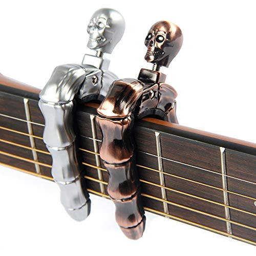 YUEKO Guitar Capo Skull Knob Design Universal 4 5 6 12 Strings Instrument Capos for Electric Classical Acoustic Guitar Bass Ukulele Mandolin Banjo and ()