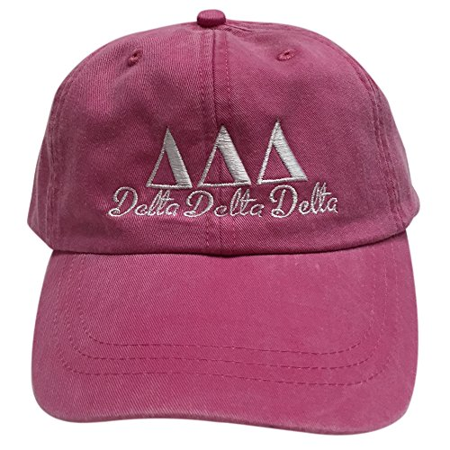 [Delta Delta Delta (S) Tri Delta Hot Pink with White Thread Sorority Baseball Hat Cap Greek Letter Sports Cap Adjustable Strap] (Frat Brothers Costume)