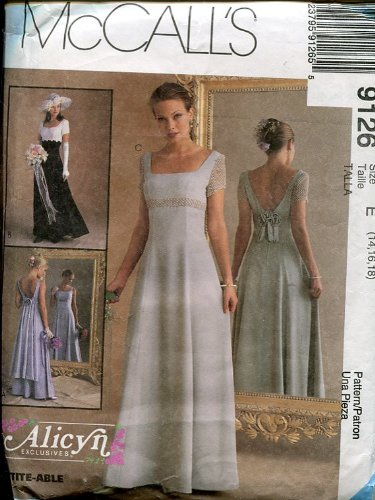 (McCall's Sewing Pattern 9126 ~ Alicyn Exclusives Bridal & Bridesmaid Dress ~ Size 14-16-18 )