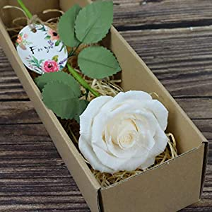 CamelliaBees Realistic Paper Rose in Gift Box Romantic Gift for Her Anniversary Valentine's Day Christmas Mothers Day Birthday Gift, Handmade Paper Ecuador White Cream Rose 38