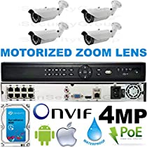 USG Business Grade Auto-Focus 4MP 2592x1520 4 Camera HD Security System : 16 Channel 6MP Security NVR + 4x Bullet Motorized 2.8-12mm Cameras + 1x 2TB HDD : Apple Android Phone App