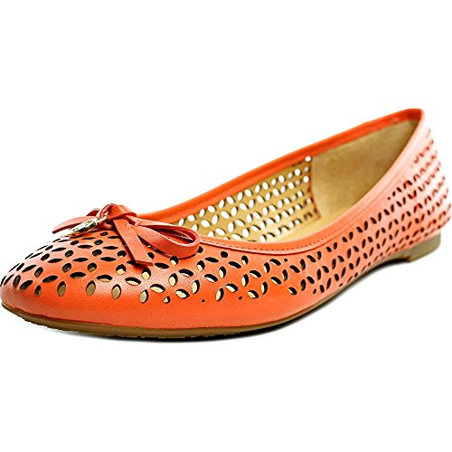 MICHAEL Michael Kors Womens Olivia Round Toe Leather Slide Flats