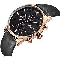 Megir Watch for Men, Leather Band, Chronograph, M-2011-1
