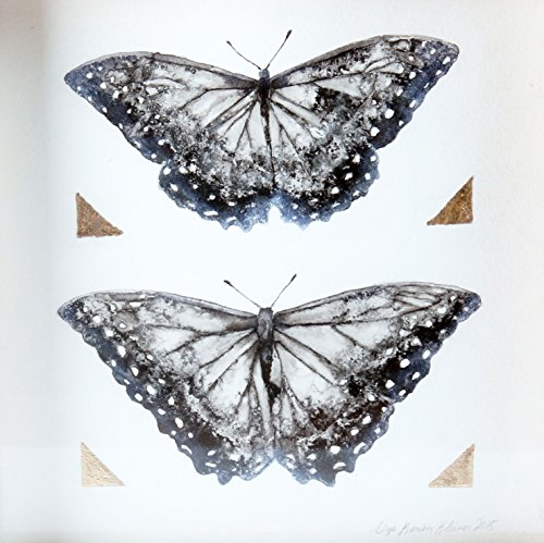 Butterfly Pair / Ink and Gold Leaf on Paper by