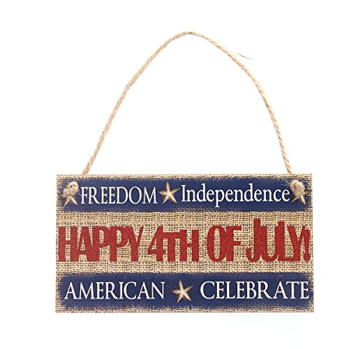 Tinksky Fourth of July Party FREEDOM Independence HAPPY 4TH OF JULY AMERICA CELEBRATE Hanging Sign Decoration Fiberboard for 4th of July Decoration and Patriotic -