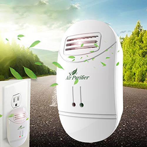 Mini Air Purifier Freshener Cleaner Plug-in Odor Cigarette Smoke Odor Smell Bacteria Dust Eliminator Dust Anion Sterilization Air Cleaner Smoke Filter Home Travel (White)