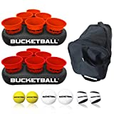 BucketBall - Team Color Edition - Party Pack (Orange/Red): Original Yard Pong Game: Best Camping, Beach, Lawn, Outdoor, Family, Adult, Tailgate Game