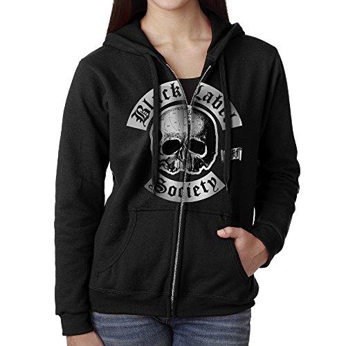 Black Label Society Flag Zip Front Hooded Sweatshirt Kangaroo Pocket For Women