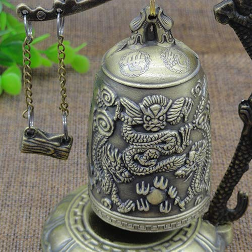 lightclub Lock Dragon Carved Buddhist Good Luck Bell Geomantic for Meditation Altar by lightclub (Image #3)