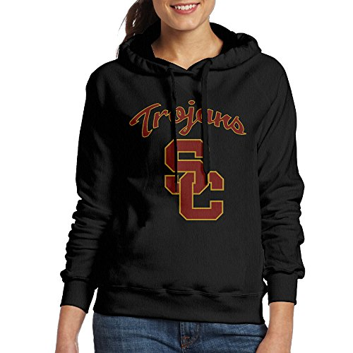 [ACFUN Women's Usc Trojans Football Hooded Sweatshirt Size S Black] (Trojan Man Costumes)