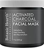 Facial Mask Hair Removal - Botanic Hearth Charcoal Facial Mask, Pore Minimizer, Deep Cleansing, Peel Off Black Face Masks for Supple Skin, 9 oz