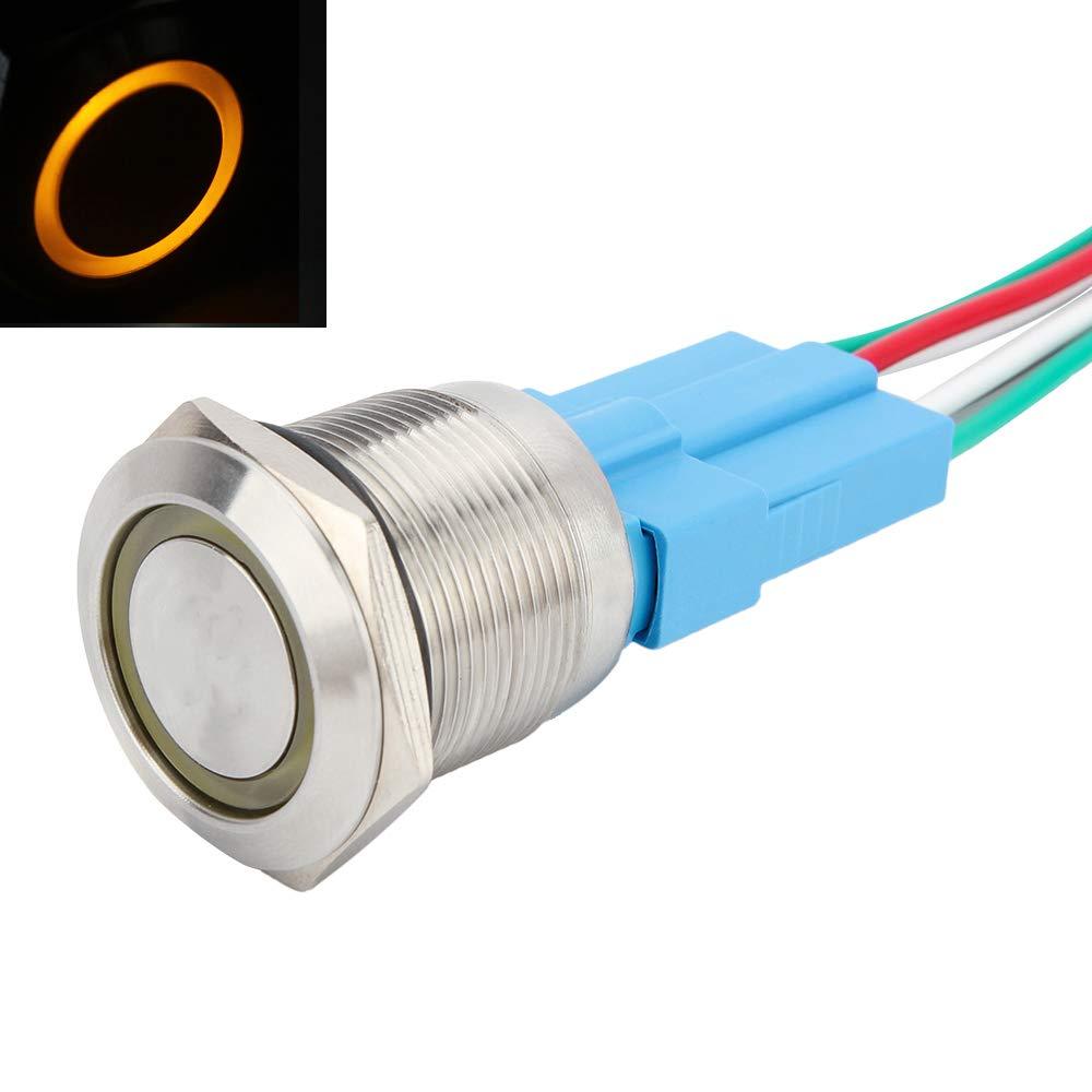 Senzeal Druckknopf Edelstahl Druckschalter 12V 22mm 0.87Inch EIN Aus Schalter LED Beleuchtet mit Steckdose Orange-1
