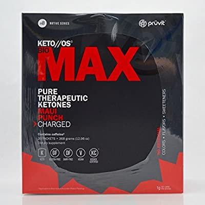 Pruvit KETO//OS Bio MAX Pure Therapeutic Ketones Drink Mix 20 Packets Maui Punch Flavor Charged
