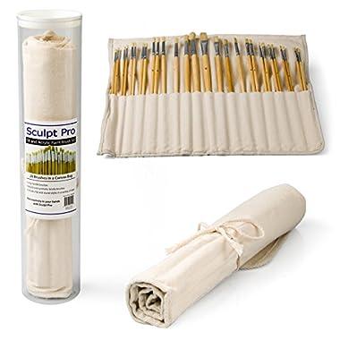 Paint Brush Set- Oil, Acrylic, Watercolor Artist's Premium Paintbrush Set with Canvas Bag, 28 Pieces