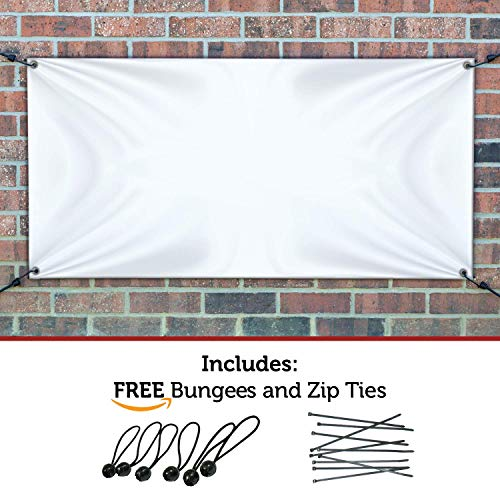 HALF PRICE BANNERS | Blank Vinyl Banner | Indoor/Outdoor | 3'x5' White | Free Ball Bungees & Zip Ties | Easy Hang Advertising Wall Sign Poster | Business DIY Party | Various Sizes | Made in USA (Vinyl Ounce 13)