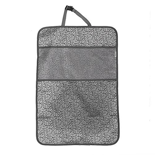 Qiilu Protecteur de Siège Dossier Universel Kick Mat Cover Pad Gardez de Boue Sale avec poche de stockage(Gris)