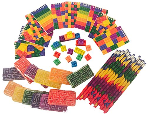 Brick Building Blocks Party Favor Novelty Toys Set - Block Pencils, Mini Note Pads, Erasers, Ball Mazes, Bags. 60 Piece Bundle for Children Lego Birthdays, Goody Bags, School Prize Boxes, Halloween - Brick Bucket