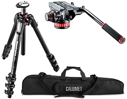 Manfrotto MT055CXPRO4 055 Carbon Fiber 4-Section Tripod Kit with 502 Video Head and a Calumet Padded (Manfrotto 055cxpro4 Carbon Fiber)
