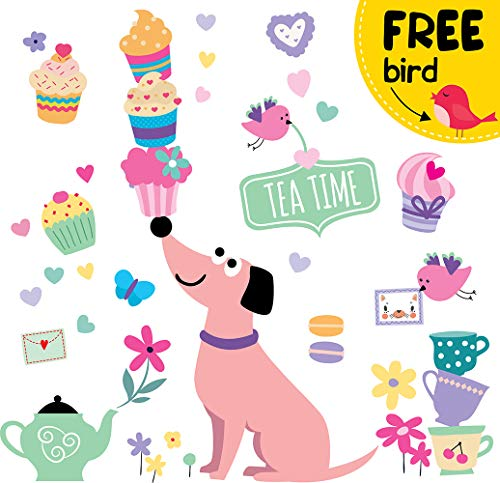 Dog Wall Decals for Girls - Cupcake Cute Pink Decor Stickers for Kids [>45 Art Baby Bedroom - Cupcake Stickers Wall