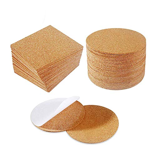 (60 Pack Cork Coasters Cork Squares 4 x 4 Inches Self-Adhesive DIY Coaster Square Cork and Round Cork Backing Sheets Mini Wall Cork Tiles for Coasters and DIY Sticky Crafts (1 Square and Round))