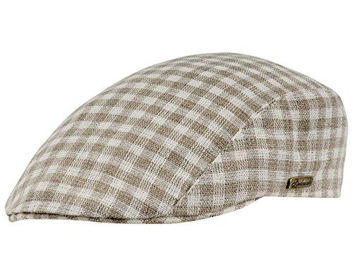 Sterkowski Men's Summer Linen Newsboy Flat Cap US 7 1/8 Beige Small Dices