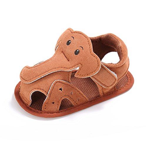 Estamico,Sandalias del verano del modelo del elefante del bebé chico Marrón