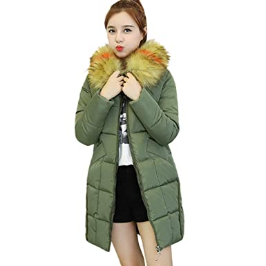 7547260a802 YKARITIANNA Women Quilted Long Fit Winter Warm Coat Faux Fur Hooded Thick  Warm Slim Jacket Long