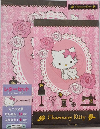 Sanrio Charmmy Kitty Letter Set 12 Writing Paper + 6 Envelopes + 7 Stickers Stationary Japan (Roses) (Sanrio Kitty Charmmy)