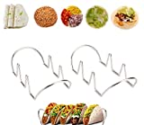 CHESEY Taco Holder Stainless Steel Rack for Tacos Wraps Hot Dogs, Pack of 2