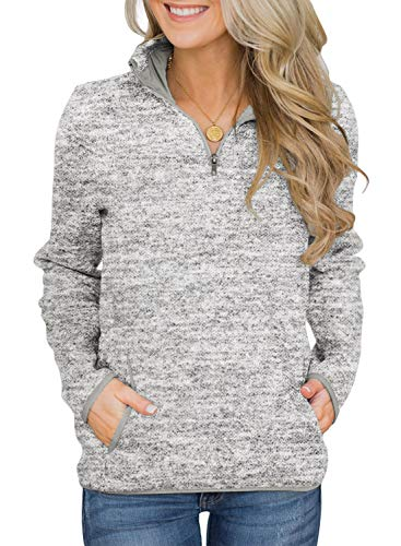 AlvaQ Womens Winter Loose Long Sleeve Sweatshirt 1/4 Zip Pullover Tops with Side Pockets Grey Large