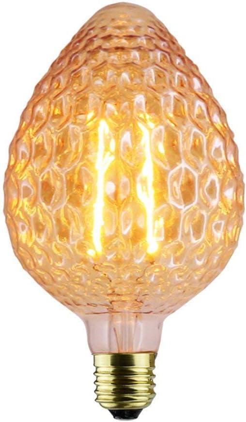 Hanamaki Bombillas Retro, E27 2W LED Bombillas Decorativas, 120LM 1800K luz Blanca cálida, bulbos de filamento de Fresa Grande, Adecuado para la Nostalgia y la iluminación Retro