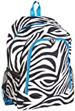 Zebra Turquoise Blue Trim School Backpack Bag, Bags Central