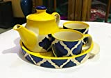 Hindustani Saudagar Microwave Safe Hand Made Painted Tea Set With Kettle And 2 Cup Capacity Of 150 Ml Excellent Gift For Any Occasion: Holidays, Anniversaries, Appreciation