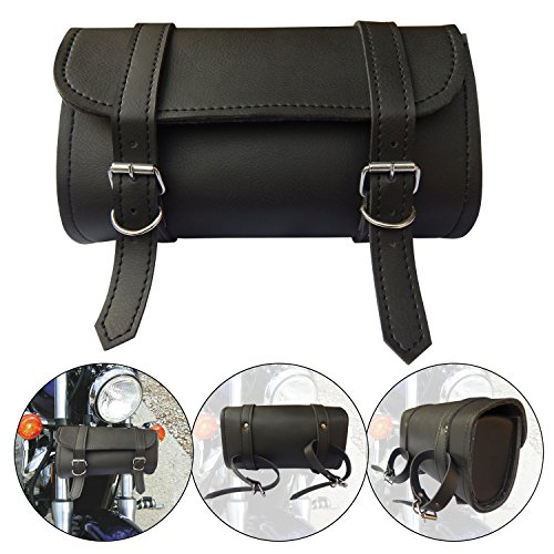 - ARD CHAMPS Motorcycle Tool Bag Handlebar Saddle Bag PU Leather Storage Tool Pouch 2 Strap Closure