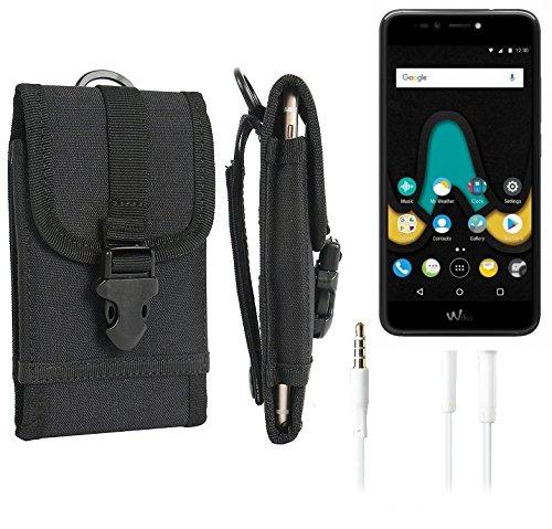 bolsa del cinturón / funda para Wiko Upulse, negro + Auriculares | caja del teléfono cubierta protectora bolso - K-S-Trade (TM)