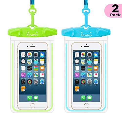 Waterproof Case, WJZXTEK 2 Pack Waterproof Pouch Dry Bag Outdoor Activities Sport Case with Armband Neck Strap Luminous Ornament Perfect for Swimming Protect iPhone Xs XR X 8 8 Plus 7 7Plus 6s Etc