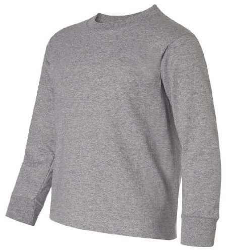 Heavyweight Blend 50/50 Youth Long Sleeve T-Shirt, Color: Oxford, Size: Medium (Blend Jerzees Youth Heavyweight)