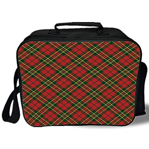 Geometrical Clasp Pearl - Insulated Lunch Bag,Checkered,Irish Tartan Plaid Motifs in Christmas Colors Geometrical Crossed Stripes Decorative,Red Emerald Yellow,for Work/School/Picnic, Grey