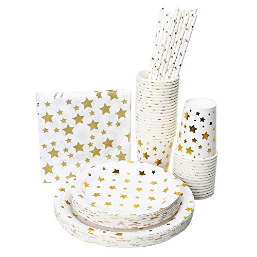 48 Disposable Dinnerware Sets with Gold Stars, Full Paper Set with 7″ & 9″ Plates Cups Napkins and Straws White and Gold Party Supplies 240 PCS