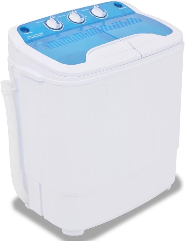 Festnight Mini Lavadora con 2 Tambores - Color de Azul y Blanco Material de Plástico 5,6 kg