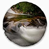 Designart CU9451-20-20-C Segade Waterfall Galicia Spain' Landscape Photo Round Throw Pillow, 20''
