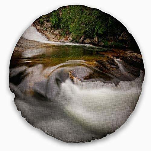 Designart CU9451-16-16-C Segade Waterfall Galicia Spain' Landscape Photo Throw Cushion Pillow Cover for Living Room, Sofa, 16'' Round, Pillow Insert + Cushion Cover Printed on Both Side by Designart