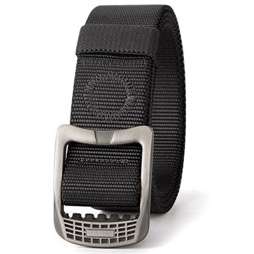 JASGOOD SurvivalMilitary CanvasNylon BeltsforMenTacticalOutdoorBelt with Metal Buckle (Suit Pant Size 36-40 Inch, Black)