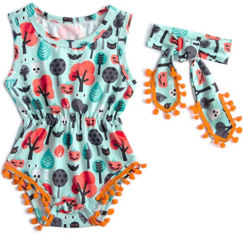 Belovecol Baby Girls Romper Sleeveless Bodysuit Floral Jumpsuit with Tassel Headband 0-18 M